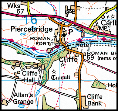 Map of the Piercebridge area