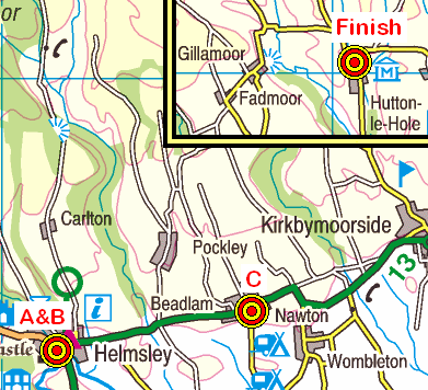 Map of the Helmsley to Hutton-le-Hole area
