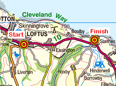 Map of the Loftus-Staithes area