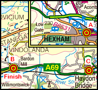 Map of the Hexham to Bardon Mill area