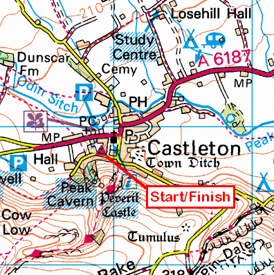 Map of the Castleton (Derbyshire) area