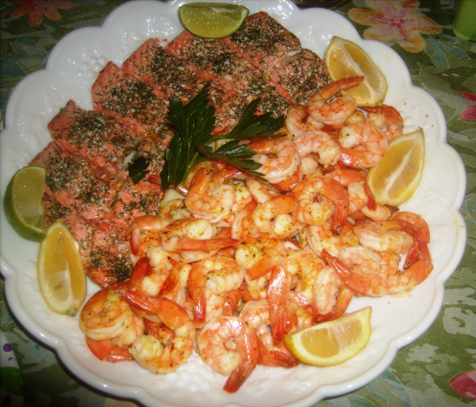 Food and Thrift: Baked Dill Sockeye Salmon, and Broiled Shrimp