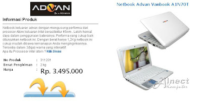 Netbook Advan Vanbook A1N70T Alnect Komputer