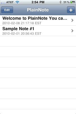 PlainNote iPhone App