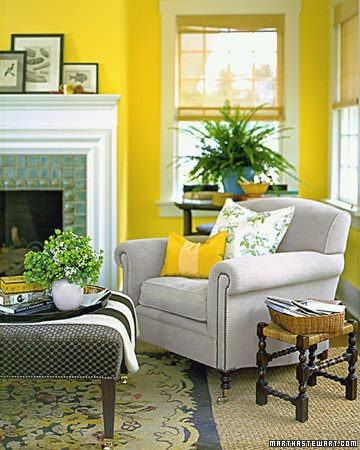 Saffron and silk mellow yellow Yellow green living room