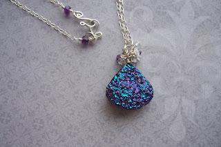 amethyst drusy aquamarine necklace