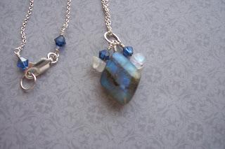 labradorite moonstone swarovski crystal necklace