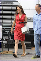 Katie Holmes Looking Red Dress Photos