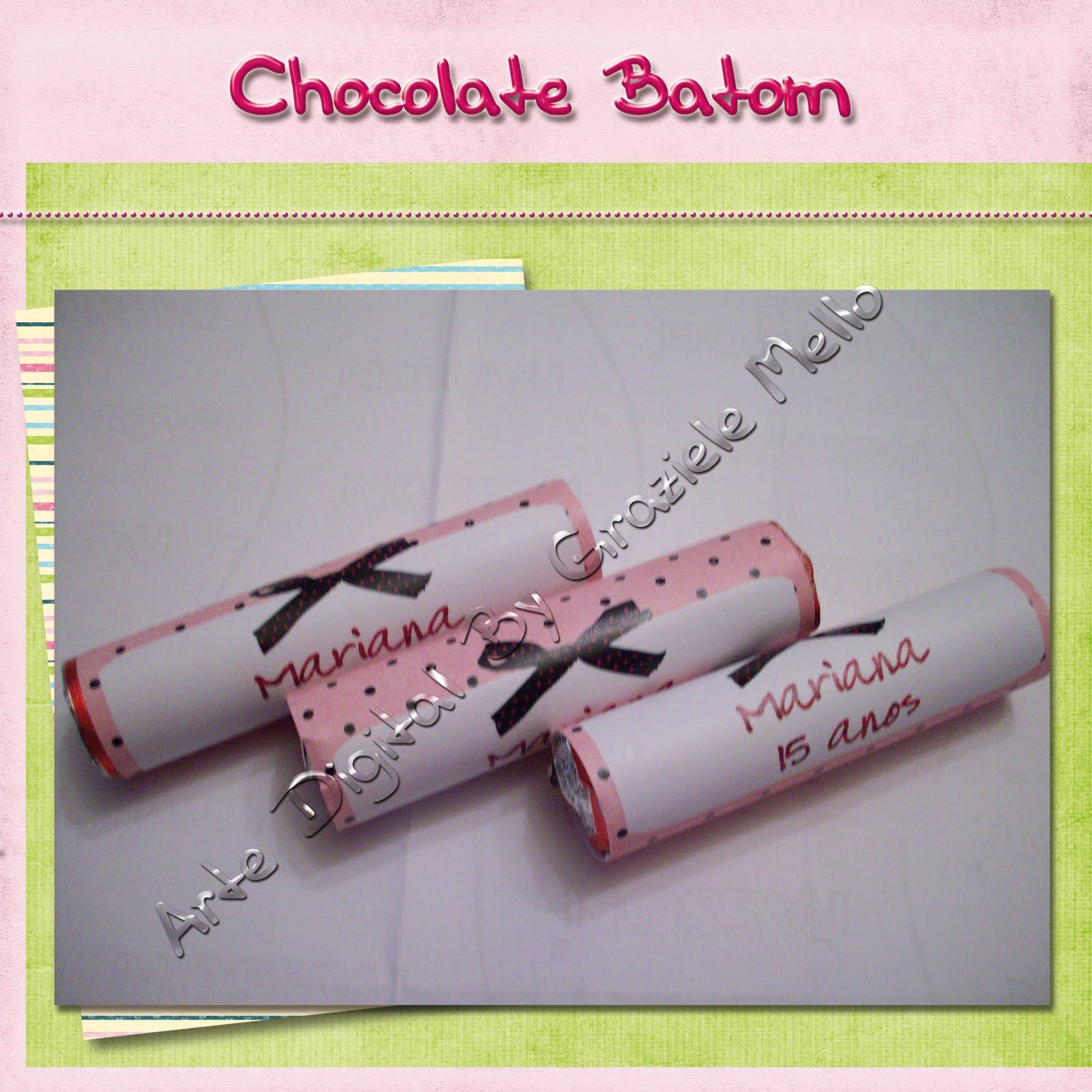 Chocolate Batom   R  Tulo Personalizado