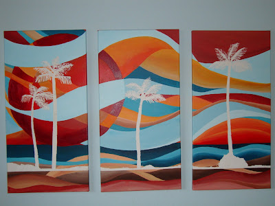 red orange blue beach painting