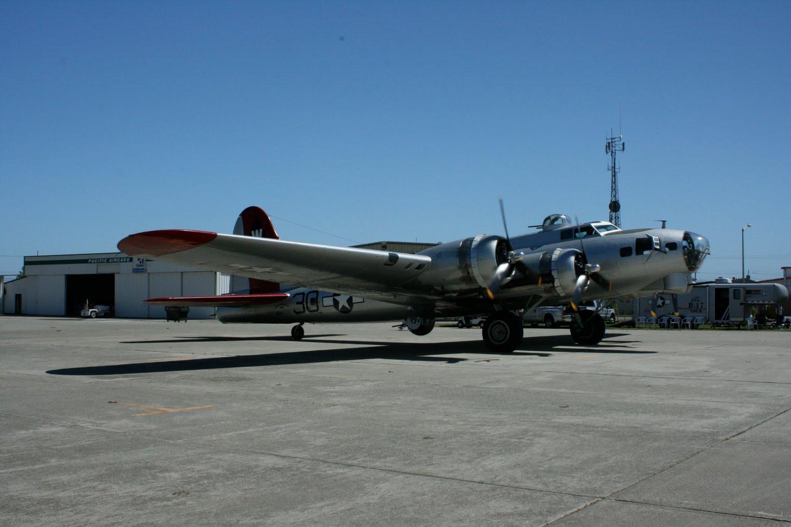 In front of the hangar