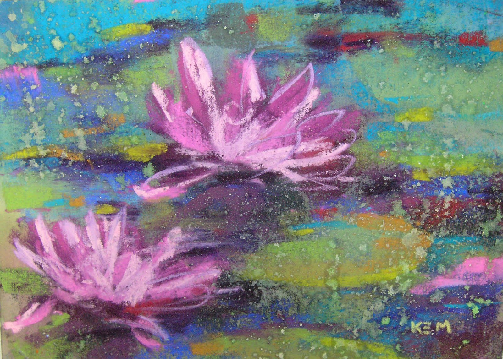 Painting My World: Water Lily 5x7 Pastel Painting