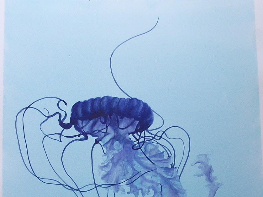 Line Drawing Jellyfish : Uniqart blue jellyfish number three