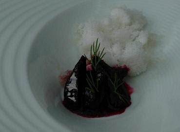 """Baby beets and fennel snow"" - beetroot served with a fennel granita"