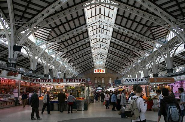 Inside València's El Mercado Central, with its massive vaulted roof