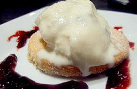 Gorgonzola ice cream on shortbread with a plum &amp; port sauce