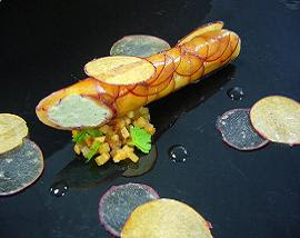 Roulade of Mirabelle plum and Barkham Blue cheese with plum wine, plum chips and Acacia honey