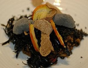 """Senia Rice with Black Truffle from Morella and Smoked Pigeon Liver"" - too much umami"