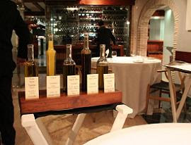 A selection of olive oils and vinegars for the bread