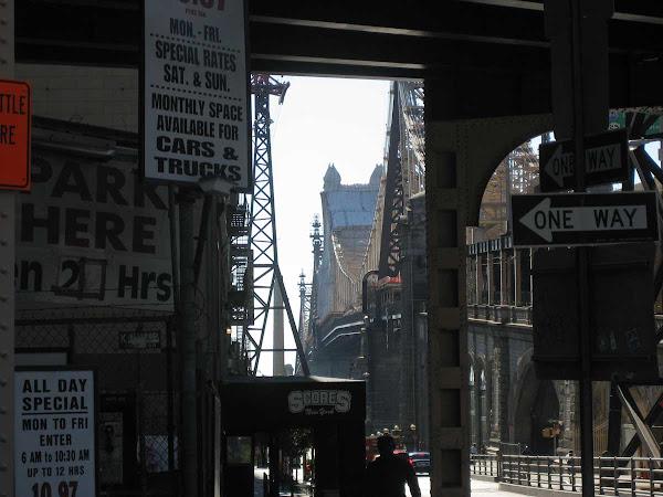 Dark Approach, Queensboro Bridge - Under an approach, on 60th St. on the Manhattan side, looking toward Queens.
