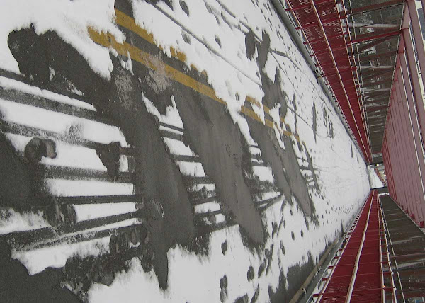 Snow Melt Painting - Like a Robert Motherwell Elegy to the Spanish Republic, at the LES end of the Williamsburg Bridge.