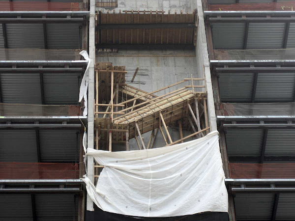 Rickety Stairs - Temporary stairs up during construction at 450 W 14th St.