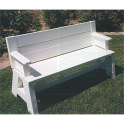 3 2 1 REALITY ROCKS: Flip-Top Bench/Table With Arms (All White Only)
