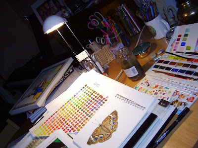 painting butterflies in my studio