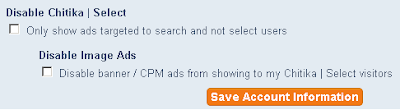 Chitika account settings - options for not showing ads to non-search traffic, and not showing banner or image ads