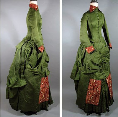 1884 2piece Brocade and Taffeta Afternoon Bustle Gown at