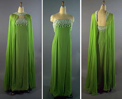 1960s Helena Barbieri strapless green crepe evening dress with chiffon wrap