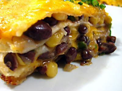 Vicarious Foodie: Cheesy Tortilla and Black Bean Pie