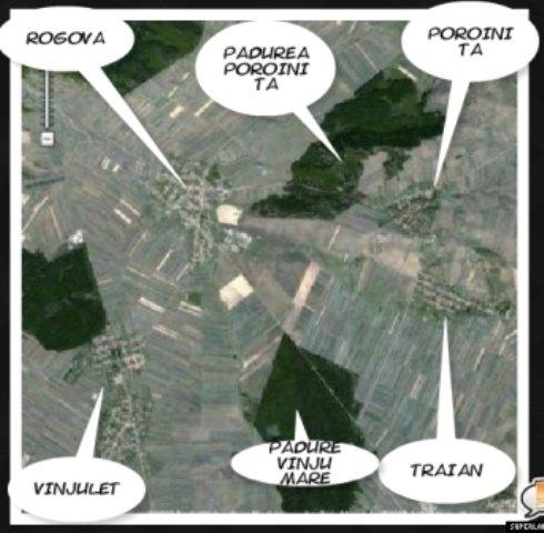Vedere sin satelit a satului Poroinita