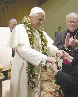 Pope Benedict with Lei