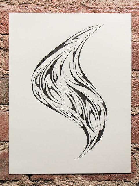 Pen and ink tribal by Elaine Espinosa