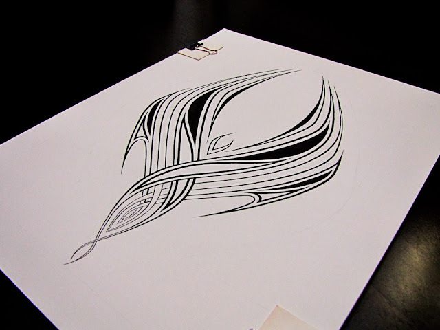 Pen and ink phoenix tribal by Elaine Espinosa