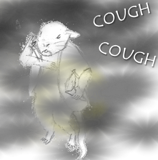 Pencil drawing: My mouse avatar coughs under heavy smoke. He tries to waft it away usuccessfully.