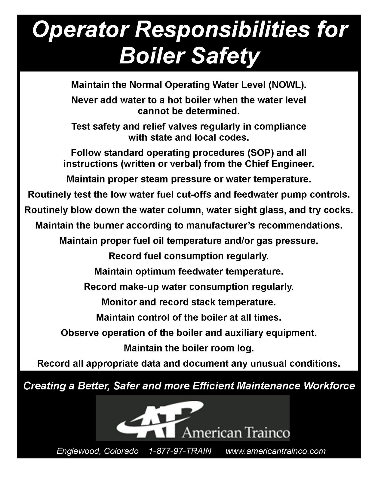 Maintenance Pros: Boiler Operation Safety Poster Here!
