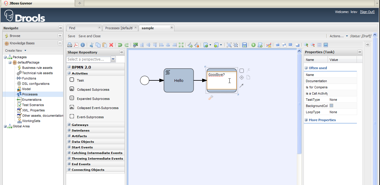 Drools jbpm browser based bpmn2 authoring in drools guvnor see bpmn2 being edited in eclipse ccuart Gallery