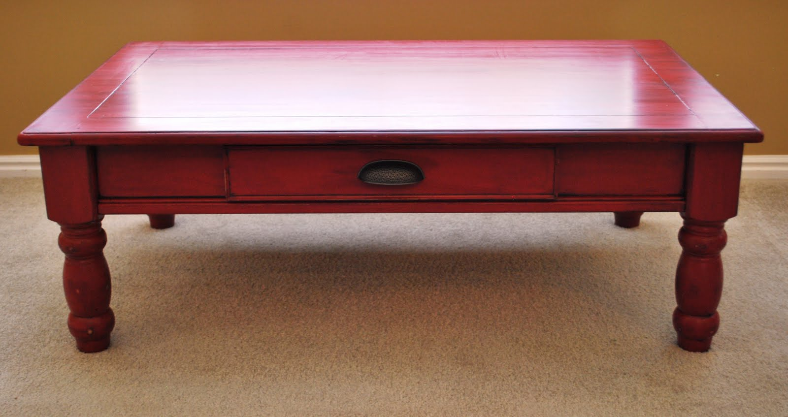 B 39 s refurnishings red coffee table privately sold Painted coffee table