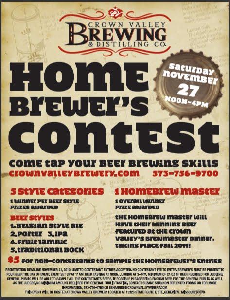 Semo Craft Beer Crown Valley Homebrew Contest Flyer Nov 27th