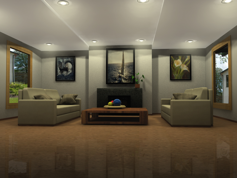 Living room noites de cinema 4d for Living room cinema 4d