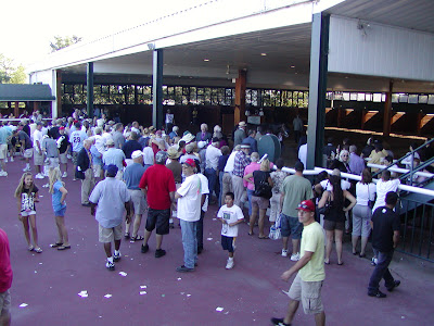 The crowd around the paddock before the Pennsylvania Derby