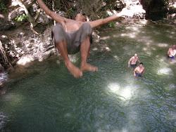 jump, waterfall
