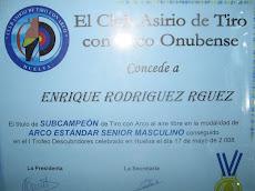 """DIPLOMA DE SUBCAMPEON EN LA TIRADA INDIVIDUAL CORRESPONDIENTE AL TROFEO """"DESCUBRIDORES"""""""