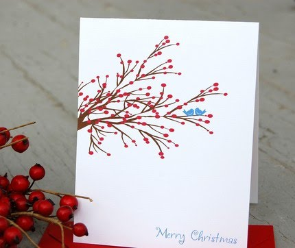 Set of 5 Holiday Greetings Cards via Michellenstamps