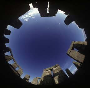 Upright view of the circular Stonehenge