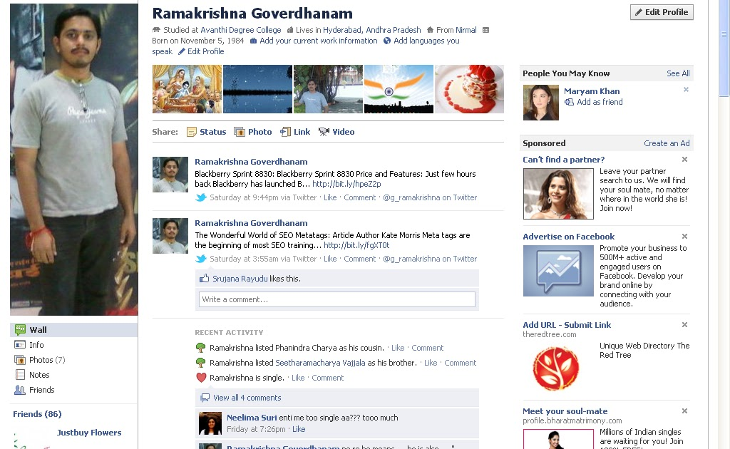ramakrishna goverdhanam  new facebook profiles now available