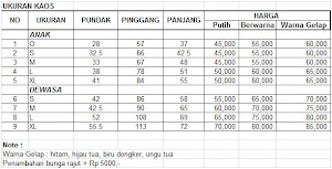 Daftar Ukuran dan Harga