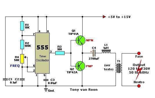 Circuito Oscilador 555 : Circuitos electrónicos inversor cc ca con el